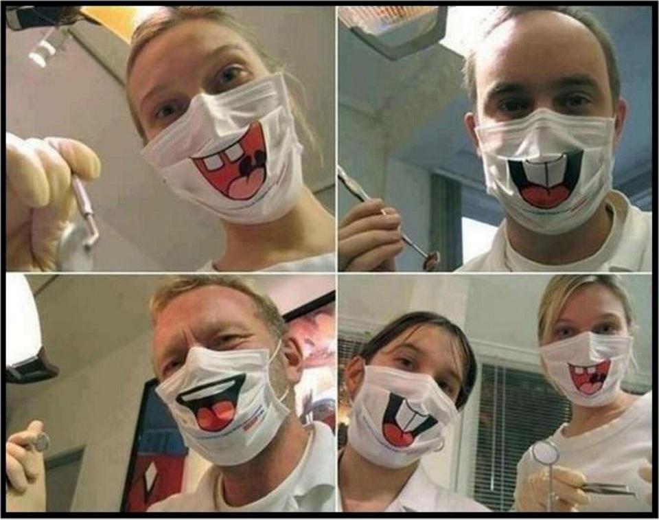 Веселые маски стоматологов